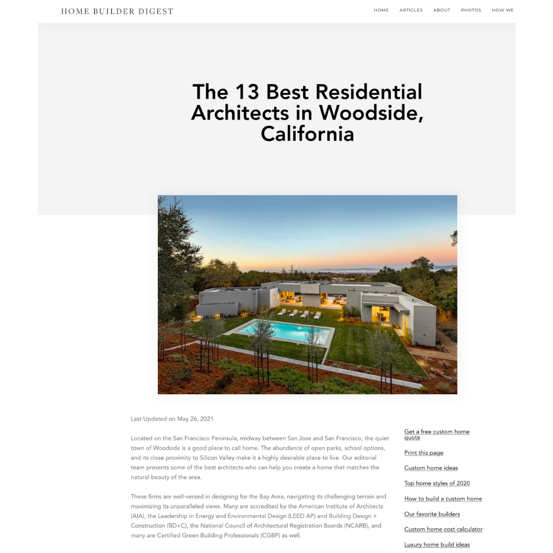 Remodern Inc. is named to Home Builder Digest's list of Best Residential Architects of Woodside, CA.